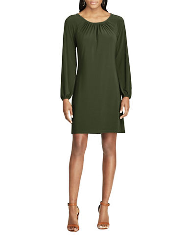 Chaps Jersey A-Line Dress-GREEN-X-Large