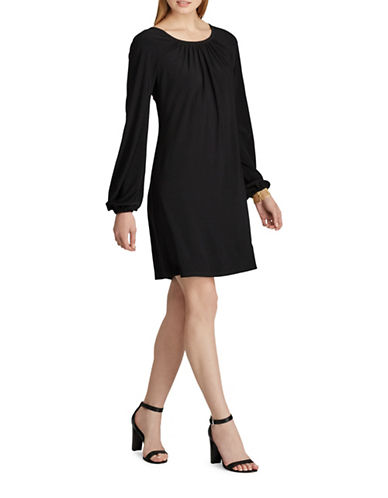 Chaps Jersey A-Line Dress-BLACK-X-Small