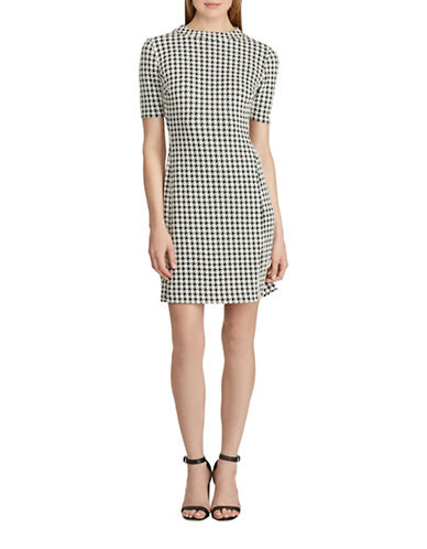 Chaps Houndstooth Jacquard Shift Dress-BLACK/CREAM-10