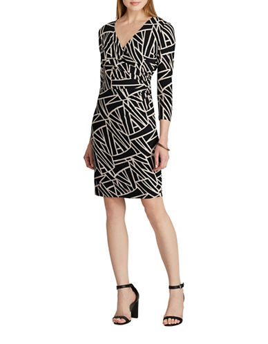 Chaps Geo-Print Jersey Surplice Dress-BLACK MULTI-Large