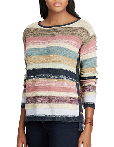Chaps Petite Striped Cotton Sweater-BEIGE-Petite Large