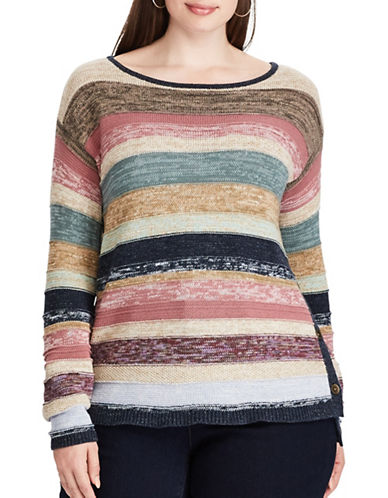 Chaps Plus Striped Cotton Sweater-BEIGE MULTI-2X
