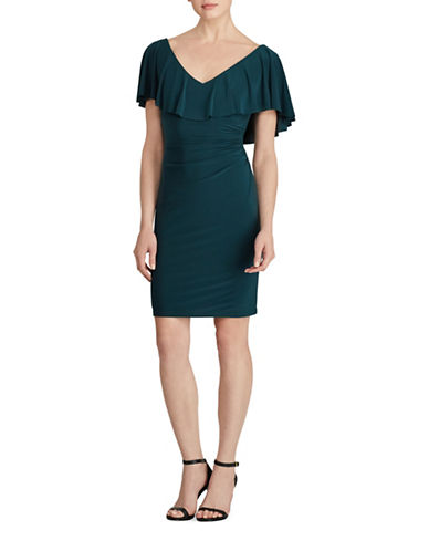 Lauren Ralph Lauren Tama Ruffled Jersey Sheath Dress-GREEN-8