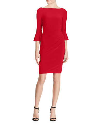 Chaps Jersey Bell-Sleeve Sheath Dress-RED-X-Large