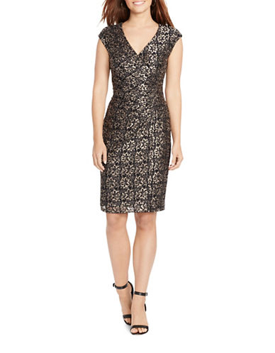 Chaps Lace Sheath Dress-BLACK MULTI-6