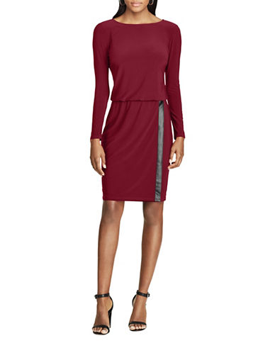 Chaps Faux Leather Trim Jersey Dress-RED-X-Large