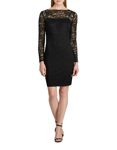 Chaps Lace Long Sleeve Sheath Dress-BLACK-8