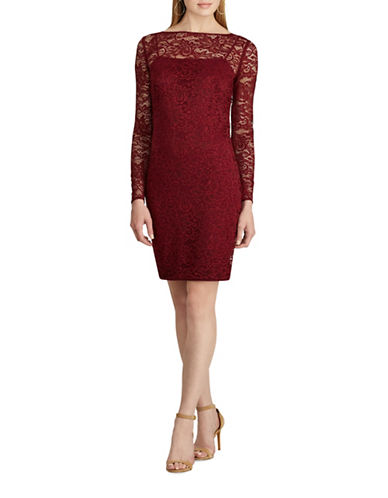Chaps Lace Long Sleeve Sheath Dress-RED-12