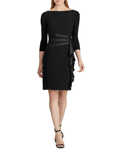 Chaps Satin-Trim Jersey Dress-BLACK-X-Small