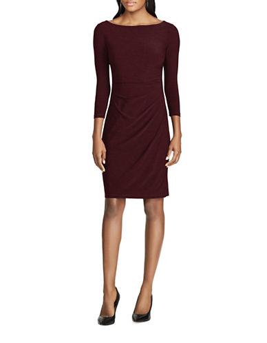 Chaps Jersey Sheath Dress-RED-X-Large