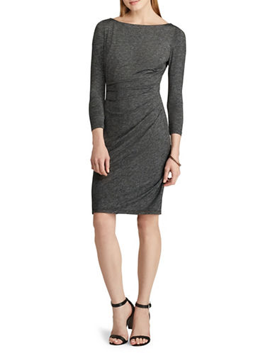 Chaps Three-Quarter Sleeve Day Sheath Dress-GREY-Large