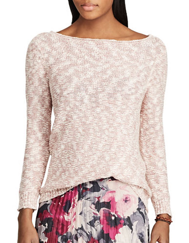 Chaps Marble Rollneck Sweater-PINK-X-Large