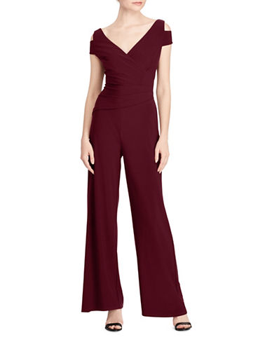 Lauren Ralph Lauren Ivanka Jersey Cold Shoulder Jumpsuit-RED-8