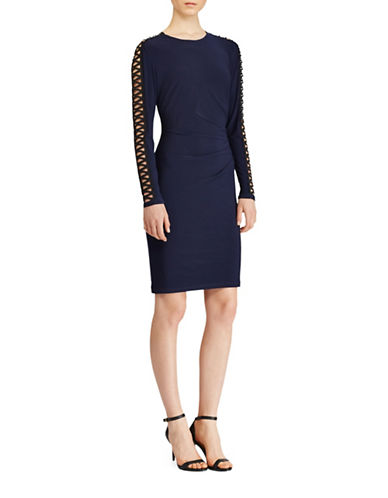 Lauren Ralph Lauren Crisscross Sleeve Jersey Sheath Dress-BLUE/BLACK-12