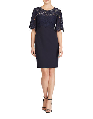 Lauren Ralph Lauren Galinda Lace-Bodice Sheath Dress-BLUE-2
