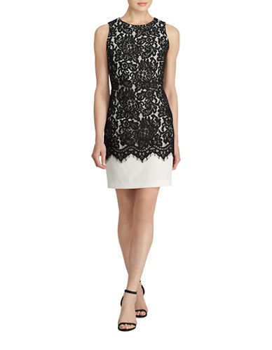 Lauren Ralph Lauren Tasha Lace-Overlay Sheath Dress-BLACK-4