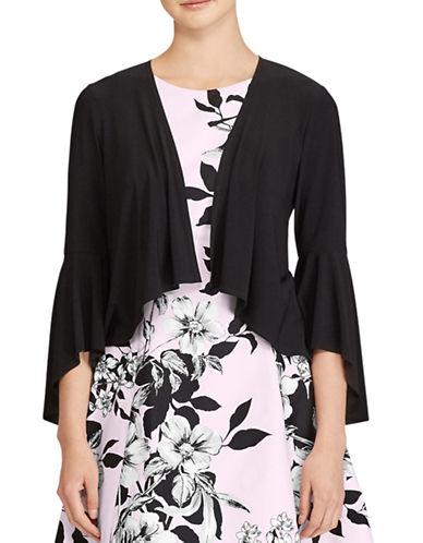 Lauren Ralph Lauren Folsom Jersey Bell Sleeve Cardigan-BLACK-X-Small