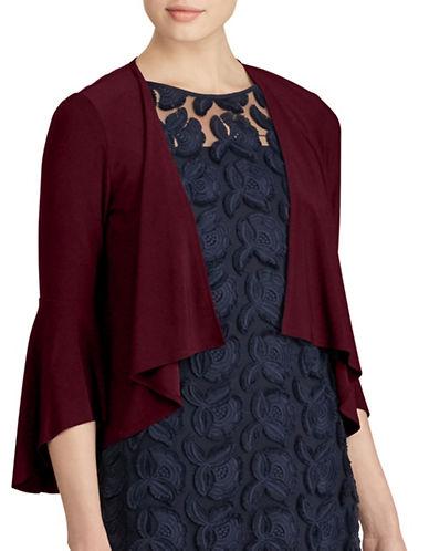 Lauren Ralph Lauren Folsom Jersey Bell Sleeve Cardigan-RED-Small