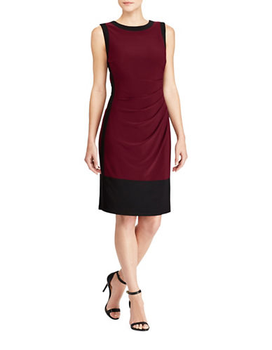 Lauren Ralph Lauren Colourblock Jersey Sheath Dress-RIOJA/BLACK-2