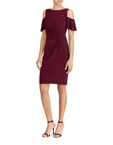 Lauren Ralph Lauren Becky Cold Shoulder Jersey Sheath Dress-RED-10