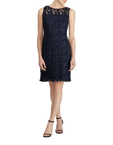 Lauren Ralph Lauren Melia Floral Lace Sheath Dress-NAVY-16