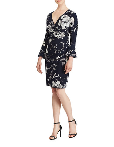 Lauren Ralph Lauren Elsietta Floral Bell Sleeve Sheath Dress-NAVY/GREY-12