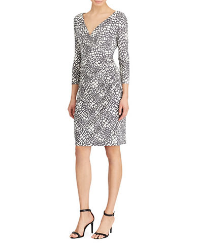Lauren Ralph Lauren Printed Sheath Dress-GREY/WHITE-16