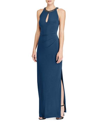 Lauren Ralph Lauren Jersey Keyhole Floor-Length Gown-BLUE-14