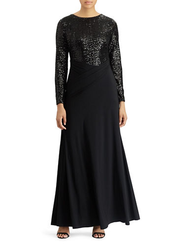 Lauren Ralph Lauren Sequined Jersey Gown-BLACK-18