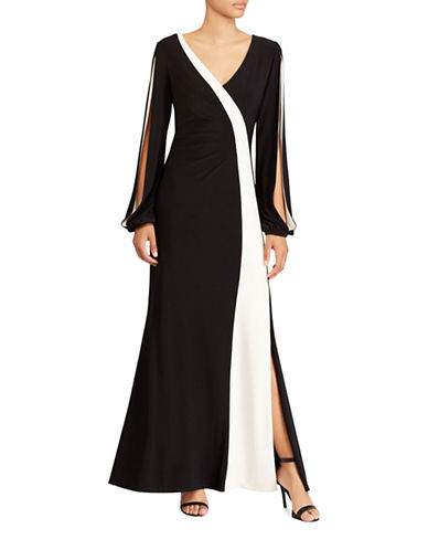 Lauren Ralph Lauren Colourblocked Jersey Floor-Length Gown-BLACK/ WHITE-2