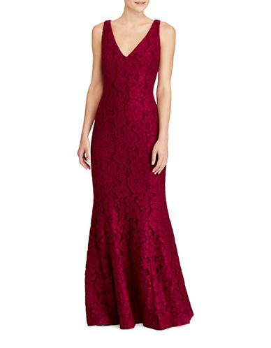 Lauren Ralph Lauren Lace V-Neck Floor-Length Gown-RED-0