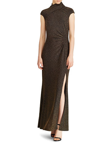 Lauren Ralph Lauren Metallic Ruched Gown-BLACK/GOLD-0