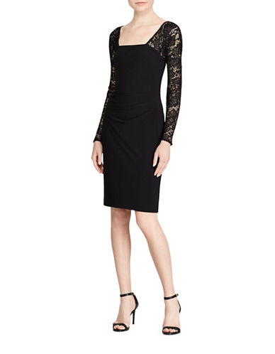Lauren Ralph Lauren Lace-Sleeve Sheath Dress-BLACK-6