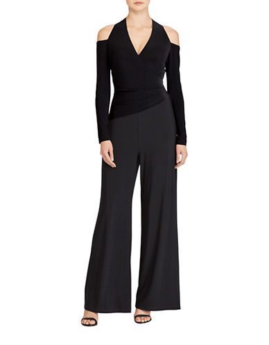 Lauren Ralph Lauren Cutout-Shoulder Surplice Jumpsuit-BLACK-2