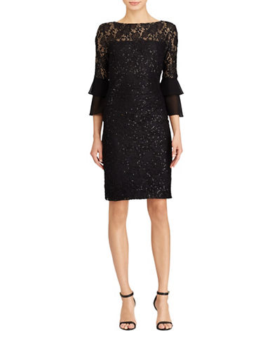 Lauren Ralph Lauren Sequined Lace Dress-BLACK-8