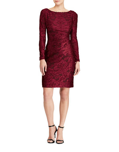 Lauren Ralph Lauren Floral Burnout Velvet Sheath Dress-RED-14