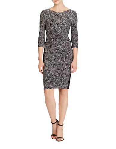 Lauren Ralph Lauren Leopard-Print Jersey Sheath Dress-BLACK/GREY-18