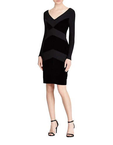 Lauren Ralph Lauren Velvet Panel Detail Dress-BLACK-2