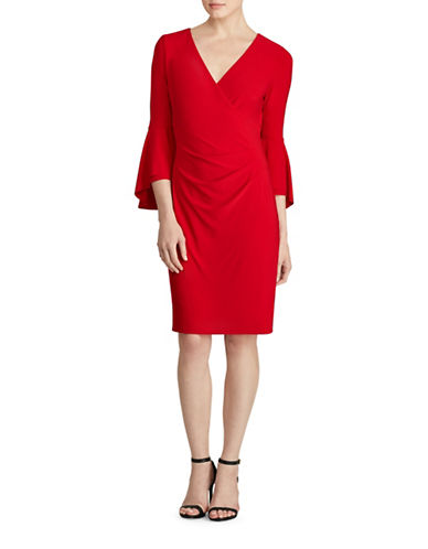 Lauren Ralph Lauren Bell Sleeve Jersey Sheath Dress-RED-18