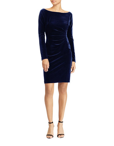 Lauren Ralph Lauren Velvet Sheath Dress-NIGHT FALL-16