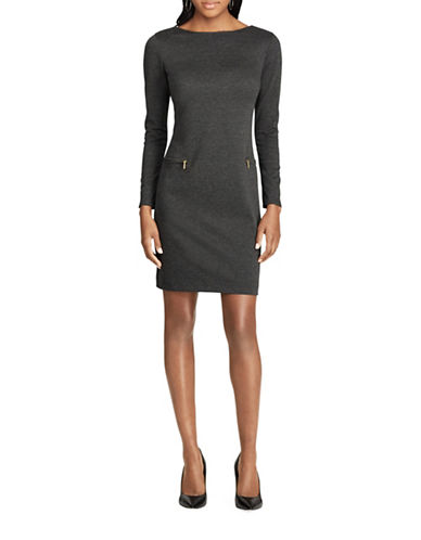 Chaps Boat Neck Ponte Dress-GREY-4