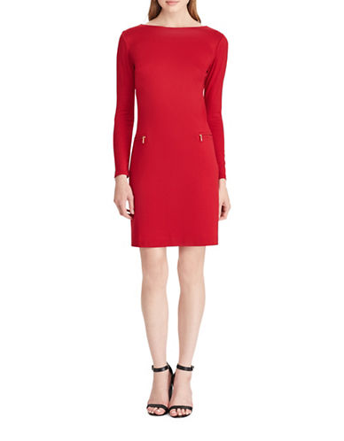 Chaps Boat Neck Ponte Dress-RED-16