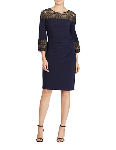 Lauren Ralph Lauren Lace-Inset Jersey Dress-BLUE-12