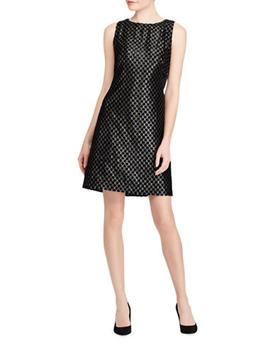 Lauren Ralph Lauren Lame Sleeveless Dress-SILVER/BLACK-4