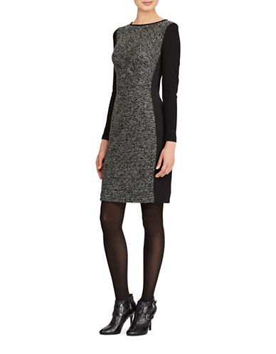 Lauren Ralph Lauren Paneled Knit Sheath Dress-BLACK-18