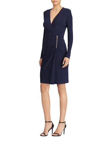 Lauren Ralph Lauren Ziembli Zip-Detail Jersey Sheath Dress-NAVY-6