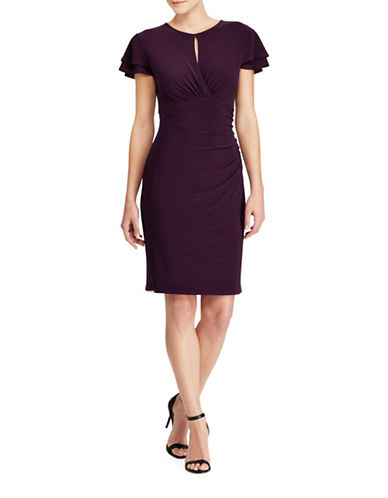 Lauren Ralph Lauren Tiered-Sleeve Ruffle Sheath Dress-PURPLE-18