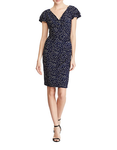 Lauren Ralph Lauren Jersey Sheath Dress-NAVY/PURPLE-18