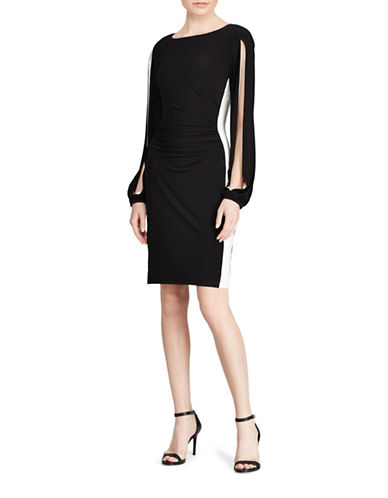 Lauren Ralph Lauren Colourblock Jersey Sheath Dress-BLACK/WHITE-6