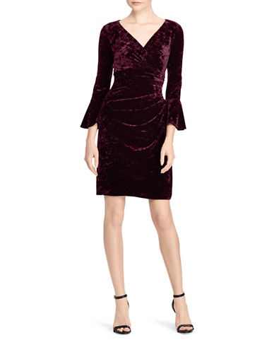 Lauren Ralph Lauren Bell-Sleeve Velvet Dress-RED-2